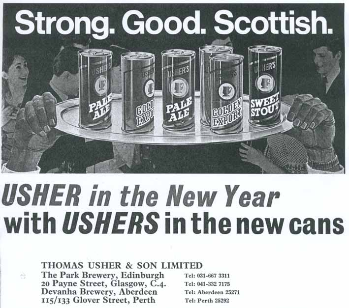 Ushers canned beer range, 1970
